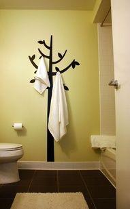 Tree Decal + Command(TM) Hooks = Unique Towel Hanging