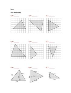 Area of Triangles 9 questions (answers included) 1 page for the questions and 1 page for the answersyou can use it as a class work, quiz or test. My Quizzes: 4th Grade Word Problems Quiz (10 Q) Equations and Inequalities Quiz (20 Questions) An Introduction to Functions Quiz (11 Questions) Evaluate Expressions Quiz (22 questions) Pairs of Lines Quiz (17Q) Types of Angles Quiz (10 Q) Increasing Growth Pattern Quiz (10 Q) Compare and Order Decimals Quiz (10 Q) Ratio Quiz (10 Q) Absolute Value…