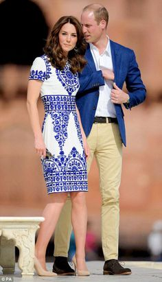 The Duke and Duchess of Cambridge walk in front of the Taj Mahal on April 16, 2016 in Agra, India.