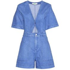 Stella McCartney Cut-Out Denim Playsuit found on Polyvore featuring jumpsuits, rompers, playsuit, jumpsuit, dresses, denim, blue, blue romper, cutout romper and denim rompers