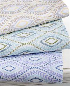 Martha Stewart 300 Thread Count  Full Sheet Set Purple Printed Retail $85 #MarthaStewart