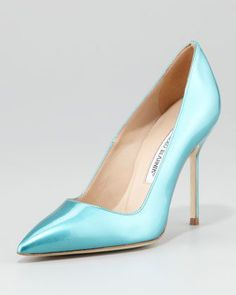 BB Bright Patent Pump, Turquoise by Manolo Blahnik at Neiman Marcus.