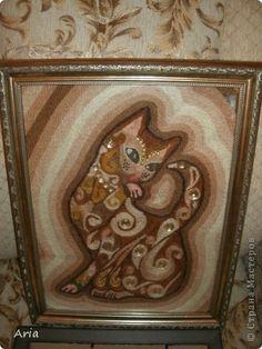 Картина панно рисунок Кошечка Ниткография Нитки фото 1