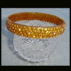 Vintage Celluloid Rhinestone Studded Bangle Bracelet 1920s