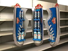 You can get creative with shelf advertising, like this awesome example for Kiwi, the shoe polish brand. Call our Display & Visual hotline on 1300 713 567 to discover how you can execute this idea with the Ball & Doggett range of materials. Pos Display, Display Design, Booth Design, Display Shelves, Display Stands, Banner Design, Display Ideas, Pos Design, Retail Design