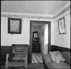 [24 Interior Views of a Fisherman's House, Nova Scotia, and Studies of the Interior of the Heliker House, Cranberry Island, Maine]. Note the painted swags up near the crown molding.