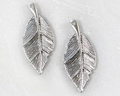1811_Silver pendant 14 х 32 mm, Leaf pendant, Rhodium plated pendant, Silver findings, Leaves pendant, Silver component for jewelry_2 pcs.