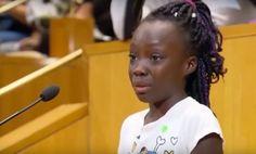 menina de nove anos tira o protagonismo aos políticos e cidadãos locais com estas palavras