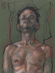 Man with pillows - pastel Gras sur Papier - 50 x 65 cm