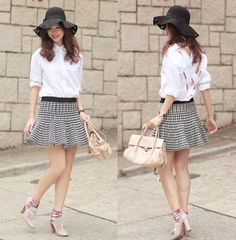 Chicwish Floppy Hat, Yesstyle Cross Back Shirt, Romwe Houndstooth Skirt, Miu Miu Pale Pink Craquele Bag, Valentino Dusty Pink Booties