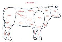 e bucăți de carne în general slabă.
