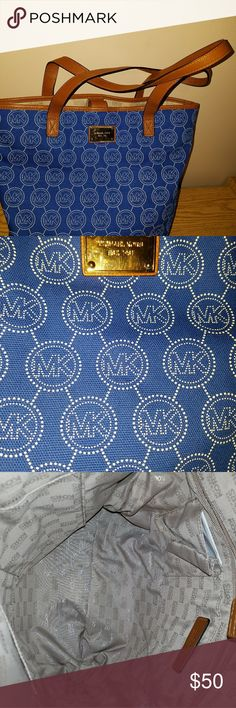 Michael Kors Bag Small Lightweight Michael Kors tote. Snap closure. Inside zip and slip pockets.  Brown leather strap. michael kors Bags Totes