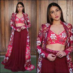 sara ali khan stylist indowestern lehenga with shrug