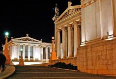 Athens, Attiki National Library & University of Athens, standing imperiously, regardless of the time. Attica Athens, Athens Greece, Library University, Greek Beauty, Neoclassical Architecture, Thessaloniki, Greece Travel, Capital City, Travel Around The World