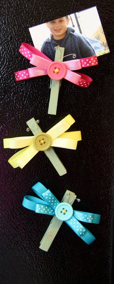 DIY Dragonfly Ribbon Magnets...instructions included to make these cute crafts. By Cindy Stevens using American Crafts ribbon.