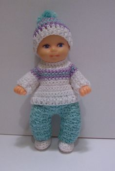 Crochet  SWEATER, Pants, Hat, and Shoes For 2 1/2 Inch BARBIE Baby Krissy Or OOAK Baby Doll Of Similar Size