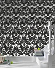 Majestic Black & White Damask Wallpaper - Graham and Brown Poise Collection New for Fall 2010, this graphic damask in black and white is finished with a ric