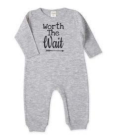 Look what I found on #zulily! Heather Gray 'Worth the Wait' Playsuit - Infant #zulilyfinds