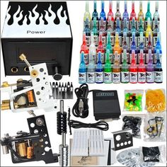 Professional Complete Tattoo Kit 2 Top Machine Gun 40 Color Ink Needle Power Supply -- Want additional info? Click on the image-affiliate link. #BeautySalonEquipment