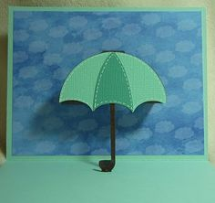 Crafting with Katie: Umbrella Everyday Pop-Up Card with Video Paper Cutting, Origami, Umbrella Cards, Cricut Cards, Explosion Box, Get Well Cards, Card Patterns, Pop Up Cards, Pretty Cards