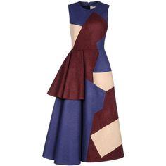 Roksanda Ilincic Long Dress ($665) ❤ liked on Polyvore featuring dresses, dark blue, multicolor dress, zip dress, zipper dress, sleeveless dress und long sleeveless dress