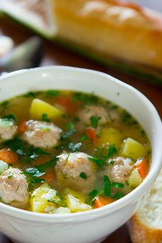 A delicious chicken meatball soup is the perfect comfort food recipe you have been craving! Easy to make homemade chicken meatballs give this all the flavor you are looking for in a soup. Chicken Meatball Soup, Chicken Meatballs, Chicken Soup Recipes, Easy Soup Recipes, Cooking Recipes, Chicken Orzo, Chicken Soups, Cooked Chicken, Lemon Chicken