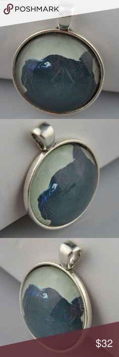 """Black Cat Portrait Glass Photo Art Necklace Even the most superstisous person can't help but fall in love with the kitty in this Halloween Black Cat Pendant  Pendant is 1"""" round Image sealed under glass in an antique silver tone tray  Choice of 16"""", 18"""", 20"""", or 24"""" Rolo or Ball chain(cut to order), or pendant only  Hand assembled so small air bubbles may be present. Water resistant but not waterproof. Phot taken with quarter for size.   Smoke free pet friendly home. Handmade Jewelry…"""