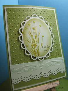 stamped, sponged and stickled image in Spellbinder Lacey Oval, embossed and border punch edge