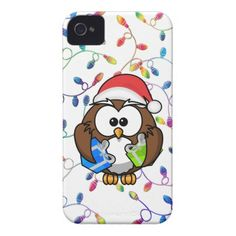 Santa owl & Christmas lights iPhone 4 Case-Mate Case