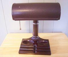 Vintage Atlas Art Deco DESK LAMP LIGHT c1940s Bakelite Base Metal WORKS