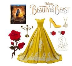 """Tale as old as time..."" by fluffy-bunny4 ❤ liked on Polyvore featuring Disney, Sergio Rossi, BeautyandtheBeast and contestentry"