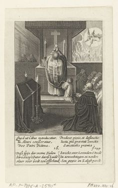 Boëtius Adamsz. Bolswert | De lijkdienst, 16, Boëtius Adamsz. Bolswert, Hendrik Aertssens, 1639 | De lijkdienst. De priester houdt het H. Sacrament omhoog. Rechts op de achtergrond redt een engel een ziel uit het vagevuur. Op de voorgrond links de doodskist onder een kleed, rechts knielende mannen. Prent nr. 16 uit de serie van 16 voorstellingen van Het Mirakel van Amsterdam, naar de gebeurtenissen op 15 maart 1345. Onder de voorstelling twee zesregelige verzen in het Latijn en Nederlands.
