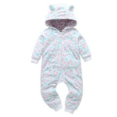 BPrincess Baby Button Up Giraffe Or Ladybug Print Ear Detail Hood Down Jumpsuit
