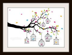 This is one of my favorite cross stitch patterns. This pattern has a wonderful and whimsical tree branch that is holding a variety of 7 different birdcages. Sprinkled around the tree also are beautiful and colorful birds, flowers and trees. This is the perfect spring cross stitch pattern.   Wha...