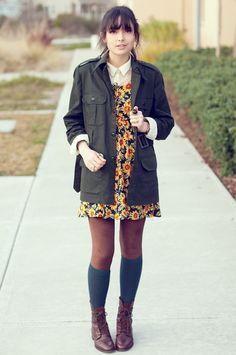 Sunflower dress. Socks + boots.