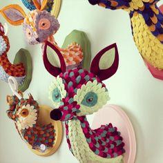 DIY craft  - love it! Jordan Elise - Horrible Adorables. Look like wall mounted animals.