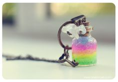 Rainbow bottle Necklace. Glitter Rainbow gel and Flowers. Glass Vial Necklace. Glass Bottle Pendant. Cute Necklace. Miniature bottle on Etsy, $15.22