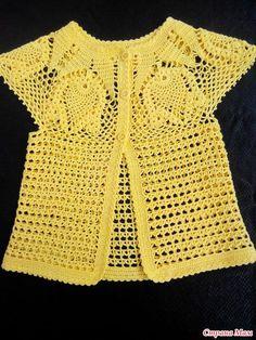 Diy Crafts - Moldesdevestidos,PatronesDeCostura-Болеро и ромашковый топ. Crochet Baby Cardigan, Crochet Jacket, Crochet Blouse, Crochet Shawl, Knit Crochet, Crochet Shrugs, Crochet Birds, Crochet Sweaters, Crochet Animals