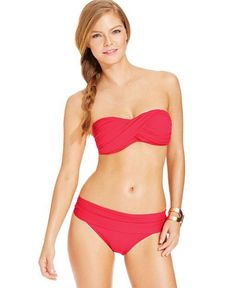 Ruched and Shirred Swimsuits La Blanca Halter Ruched Bandeau Bikini Top, $73, macys.com; Foldover Bottom, $55, macys.com