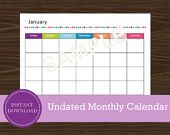 Monthly Calendar - Landscape Calendar - undated calendar Road Trip Planner, Travel Planner, Printable Planner, Printables, Printable Calendars, 12 Month Calendar, Be Yourself Quotes, Trip Planning, 12 Months