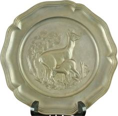 Plate Angel Stamp Decorative Pewter 1950 12-391-0