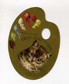 Victorian Trade Card - Die Cut Artist's Palette With Kitty - Late 1800's.