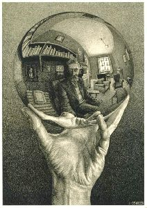 M.C. Escher`s Crystal Ball  Do you see the hand first or the ball- the genius of Escher!