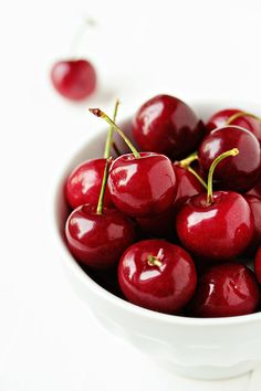 My favorite shade of red. I love the shiny sumptious color of fresh cherries, and I have decorated with cherries from Pier 1 Imports that look like the real thing.