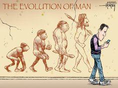 """""""L'evoluzione dell'uomo"""" di David Horsey."""