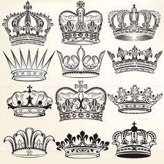 Raccolta di vector royal corone per araldica design illustrazione royalty-free