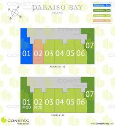 Paraiso Bay Miami site plan/key plan. Miami floor plans.