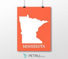 Minnesota print - Minnesota art - Minnesota poster - Minnesota wall art - Minnesota printable poster - Minnesota map - Minnesota Sunset art by on Etsy Sunset Art, Minnesota, Printables, Posters, Map, Wall Art, Quotes, Etsy, Design