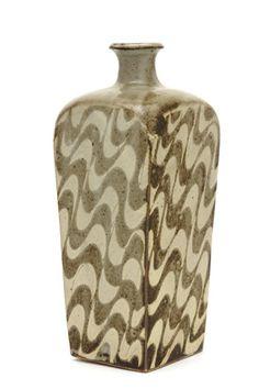 1988, bottle with slip and clear glaze. Shimaoka Tatsuzo , (Japanese, 1919 - 2007)