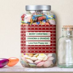 Personalised Red Knitted Jumper Sweet Shop Jar